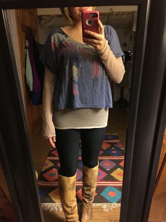 Feather Crop Top and Free People Striped Burnout Henley in Sand