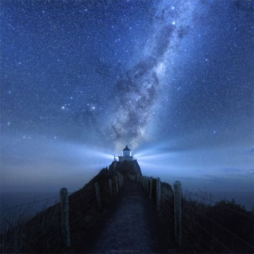 The Milky Way over Nugget Point Lighthouse, New Zealand.  js - http://astronomy.abafu.net/astronomy/the-milky-way-over-nugget-point-lighthouse-new-zealand-js