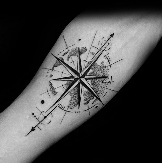 50 Small Compass Tattoos For Men Navigation Ink Design Ideas Compass Tattoo Men Compass Tattoo Compass Tattoo Design