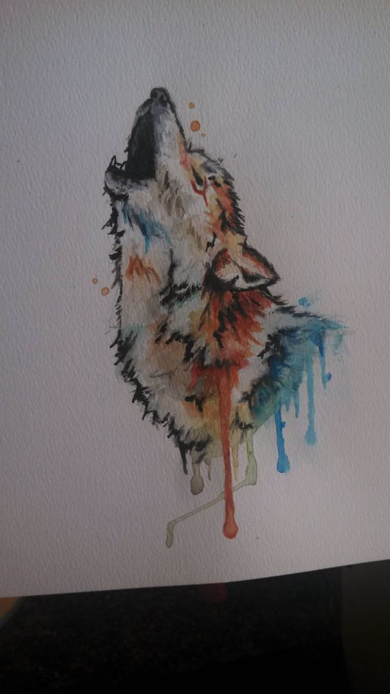 I painted this wolf with watercolors for my boyfriend. My favorite painting by far. :) - Imgur