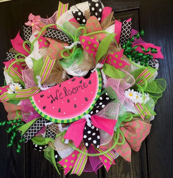 Watermelon deco mesh wreath Watermelon by ShellysChicDesigns
