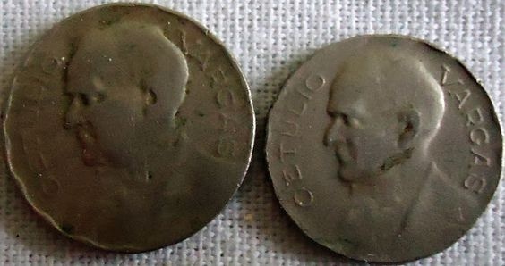 moedas brasileiras antigas - 100 réis e 200 réis - 1938 e 1940