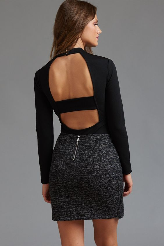 This backless bodysuit outfit looks great worn with white, black, or nude!