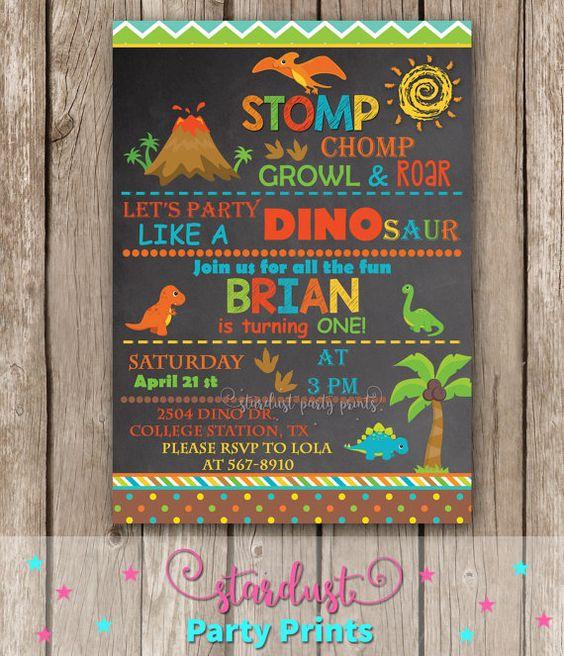 Dinosaur Invitation Dinosaur Birthday by StardustPartyPrints