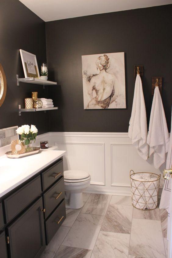 gray vanity, gold hardware