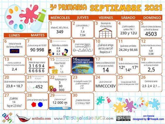 Calendario Quinto ABN – Septiembre 2021