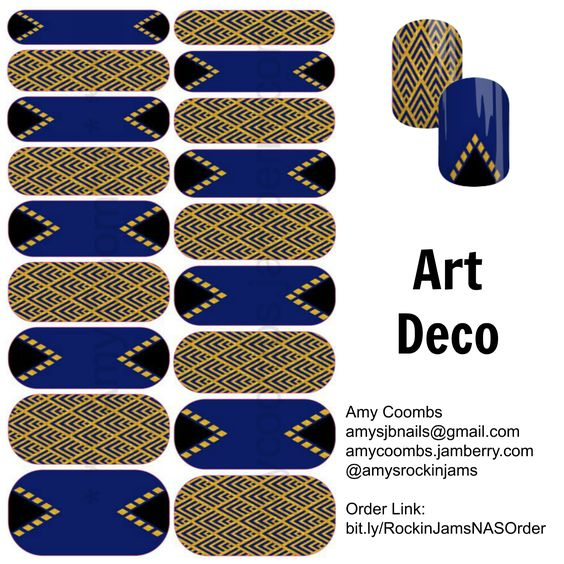 Custom Nail Art for you! Art Deco! Visit me at amycoombs.jamberry.com and join the nail revolution! http://bit.ly/RockinJamsNASGroup