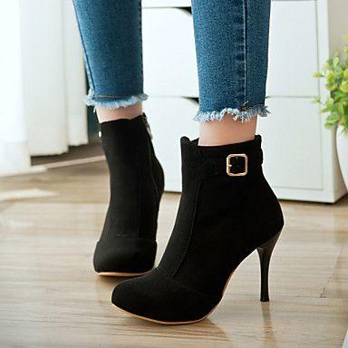Calçados+Femininos+-+Botas+-+Arrendondado+/+Botas+da+Moda+-+Salto+Agulha+-+Preto+/+Vermelho+-+Camursa+Sintética+-+Social+/+Casual+–+BRL+R$+152,36