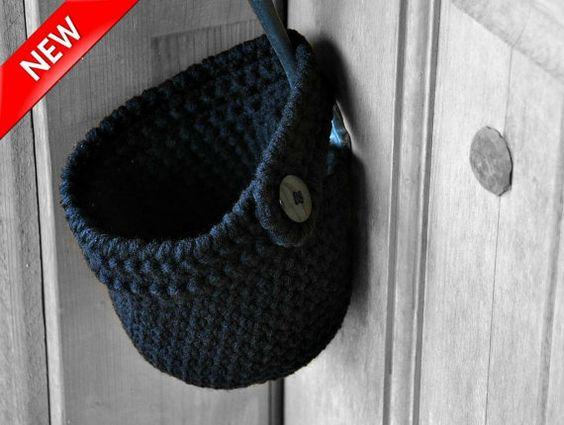 Black Hanging Storage Basket Button On Office by AandBDesignStudio