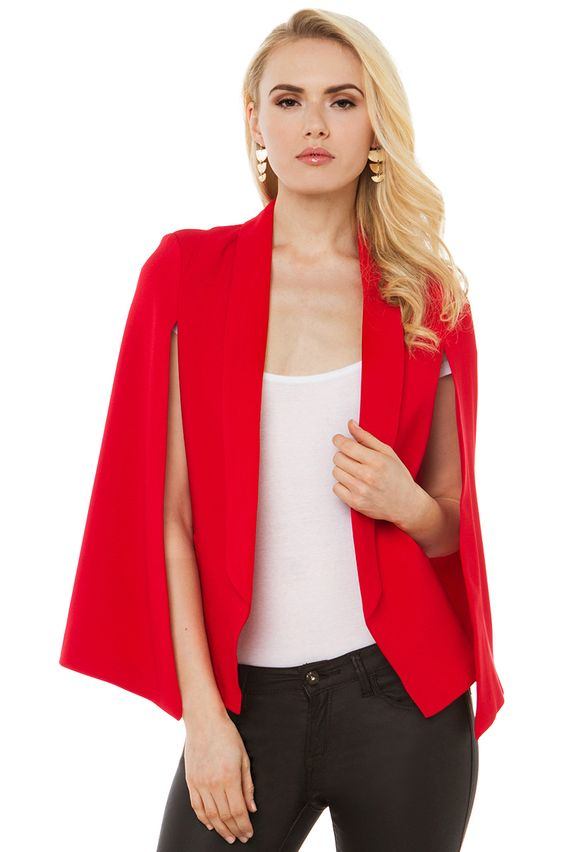 The Perfect Night Cap(e) | AKIRA Red Cape Blazer | Red Jacket ...