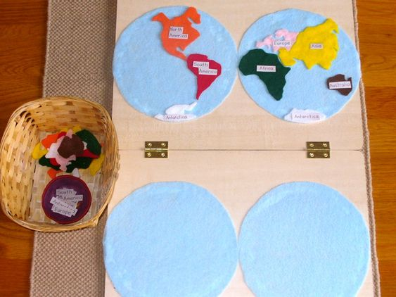 Continent Map Work with DIY Continent Maps (Photo from http://www.unitedmontessori.com/blog/2011/4/12/geography-planisphere-map.html Roundup post from http://livingmontessorinow.com/2011/04/18/activity-of-week-continent-map-work/#)