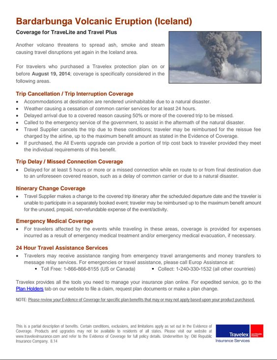Travelex Position Statement Bardarbunga Volcanic Eruption Http