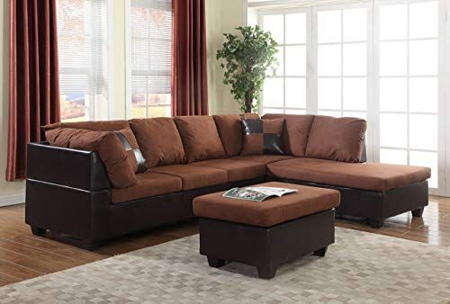 New Gtu Furniture Microfiber Sectional Couch Sofa Living Room Set 3 Color Available With Ottoman Chocolate