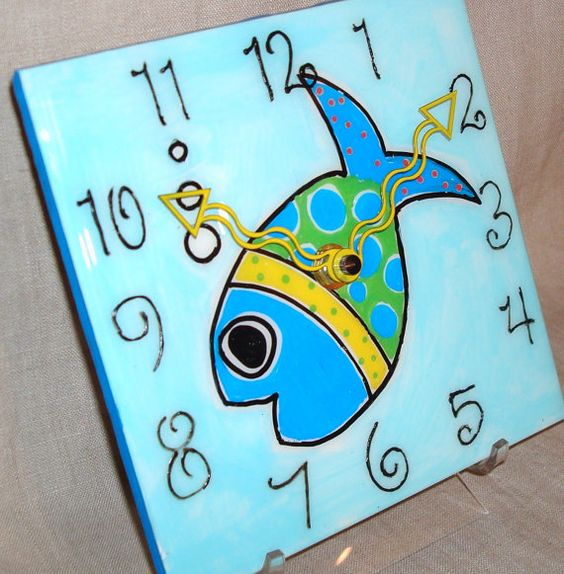 Wall Clock  Hand Painted Whimsical Funky Fish by makingtimetc, $45.00    I love the colors, what a cute piece of art for a kid´s room!