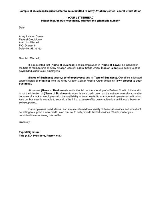 BUSINESS REQUEST LETTER