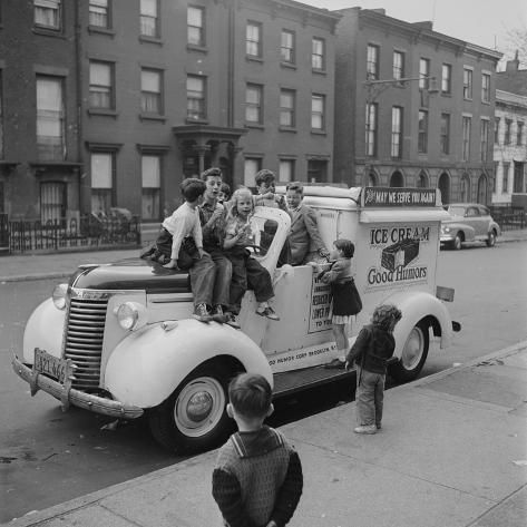 Photographic Print: Children Sit on the Ice Cream Truck in Brooklyn by Ralph Morse : 16x16in