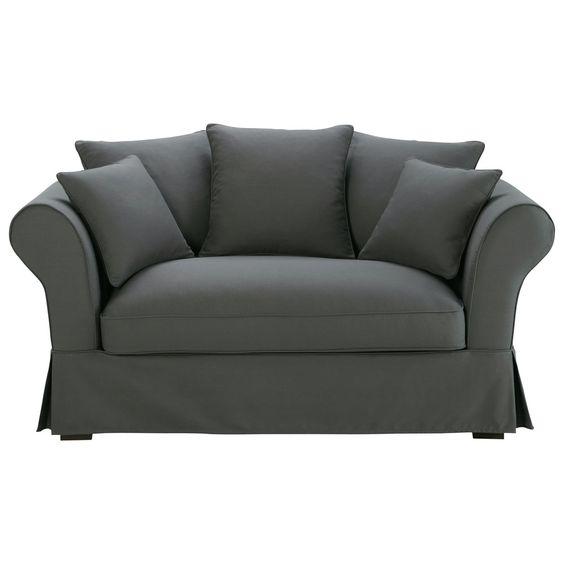 Sofa 2-/3-sitzig aus Baumwolle, schiefergrau Roma