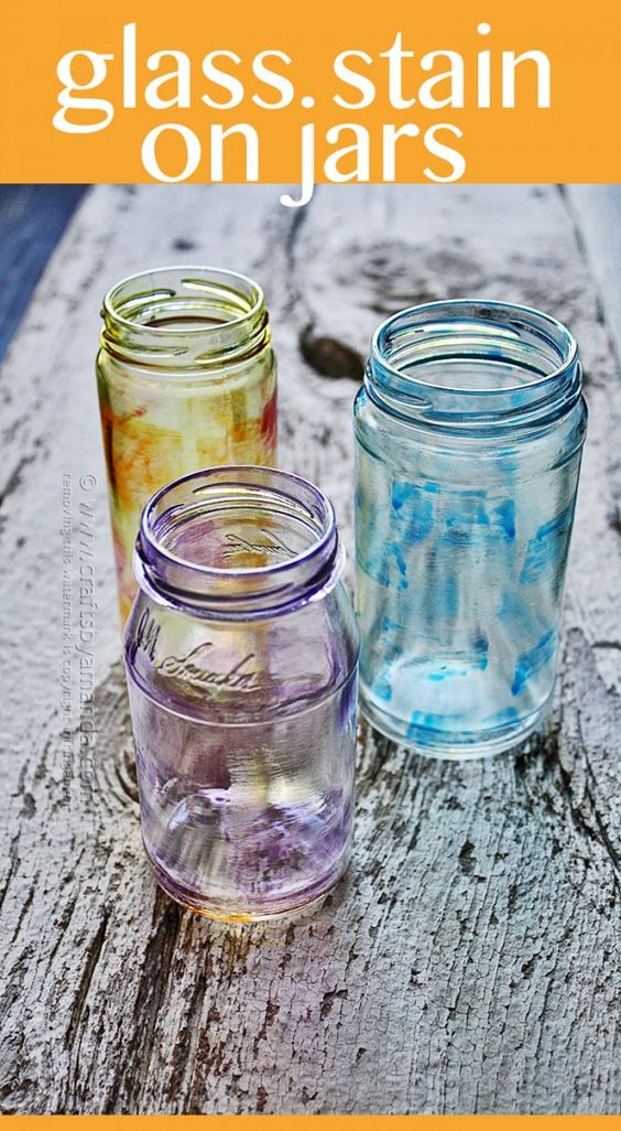 Painting on jars with glass stain recipe beautiful for How to stain glass jars with paint