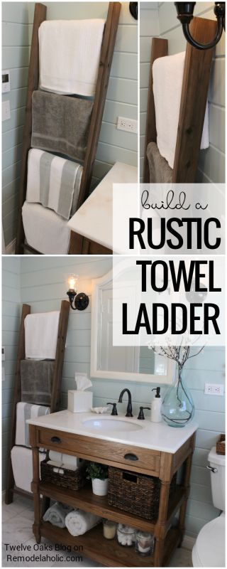 Store towels in your bathroom while looking chic and farmhouse! How To Build A Rustic Towel Ladder, Tutorial from Twelve Oaks Blog on Remodelaholic.com: