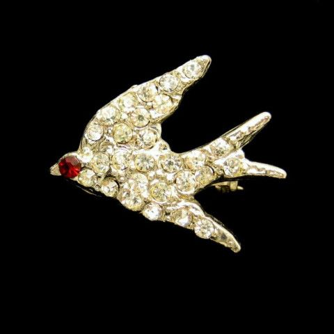Charming #vintage #rhinestones #bird #brooch with #red Eye Great #valentine #gift from #myclassicjewelry on #etsy See more Fabulous Vintage Brooches and Pins in my Shop: https://www.etsy.com/shop/MyClassicJewelry?section_id=13113948