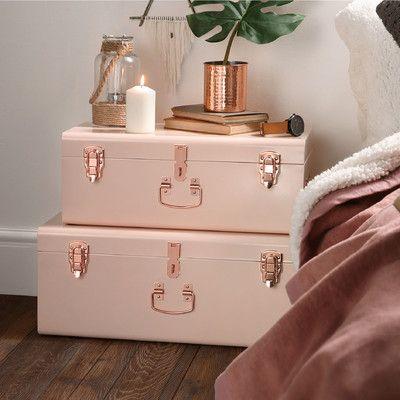 Beautify 2 Piece Storage Trunk Set Finish: Blush Pink