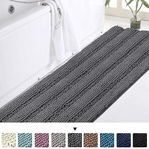 Turquoize Bath Rug Runner Long Bathroom Rug Large Size Plush Shaggy Chenille Bathroom Runner Rug 47 X 17 Non In 2020 Bathroom Rugs Bath Runner Rugs Large Bathroom Rugs
