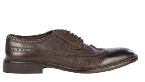 Mens H By Hudson Tan Leather Somme Derby Brogue Wing Tip Formal Shoes 8 42 New