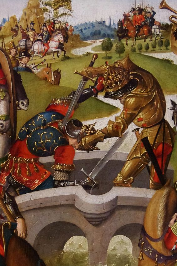 https://flic.kr/p/cxNbPq | Detail of 'Emperor Heraclius Slays the King of Persia' | The emperor is wearing pointy gothic armour, apparently gilded, with a crown on his helmet.  The King of Persia appears to have his armour hidden by clothing, although he is wearing a helmet and lower arm defenses.  Harding Collection, Chicago Institute of Art.