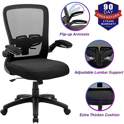 Buy Office Chair Zlhecto Ergonomic Desk Chair Adjustable Height Lumbar Support High Back Mesh Computer Chair Flip Armrests Conference Room 300lb Weight In 2020 Ergonomic Desk Chair Ergonomic Desk Office Chair