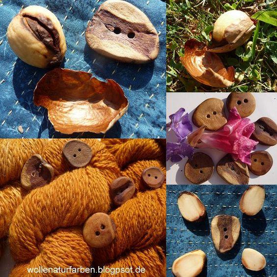 Wolle Natur Farben : Knöpfe und Heilung aus dem Avocadokern