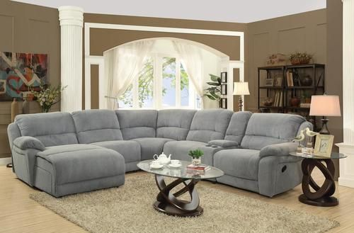 Mackenzie Silver Chenille Reclining Sectional Sofa 600017 Reclining Sectional Sectional Sofa With Recliner Microfiber Sectional Sofa