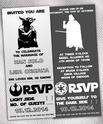Star Wars dask side/light side themed wedding invites