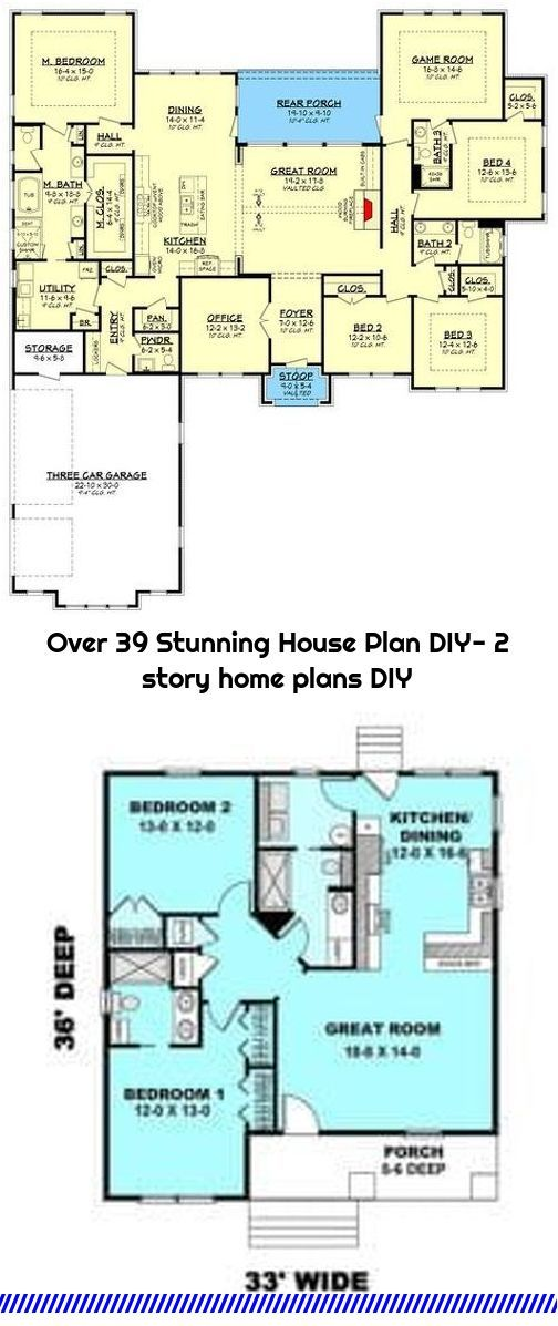 Over 39 Stunning House Plan Diy 2 Story Home Plans Diy In 2020 House Plans Small House Plans 2 Story Houses