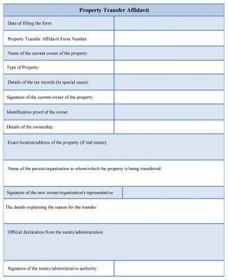 The sample of a property transfer affidavit form contains - affidavit template free