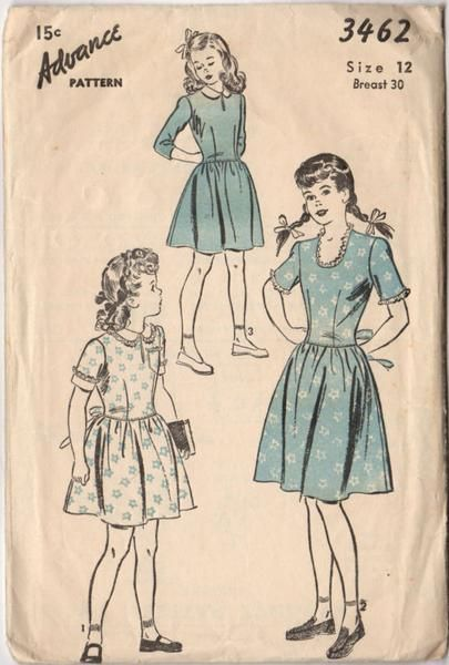 Vintage 1940s Advance Sewing Pattern 3462 Girls Short Sleeve Dress Bust 30 Hip 33
