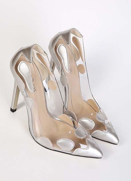 Sexy Silver High-heeled Shoes Cheap Pointed Toe Shoes Fashion
