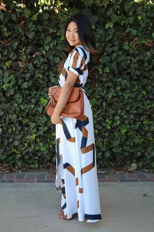 White Short Sleeve Geometric Print Split Maxi Dress -SheIn(Sheinside) Mobile Site