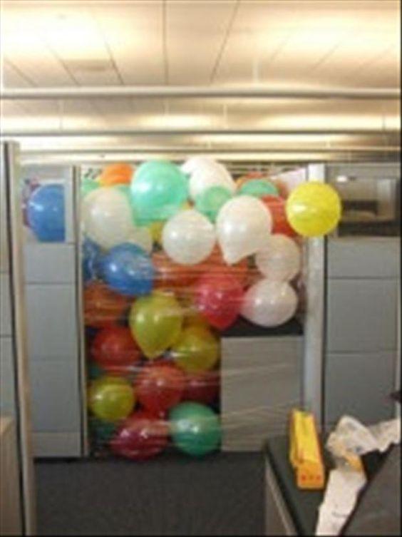 office desk pranks ideas. Balloon Office Cubicle Prank | Practical Jokes \u0026 Pranks Pinterest Cubicles, And Birthday Desk Ideas R