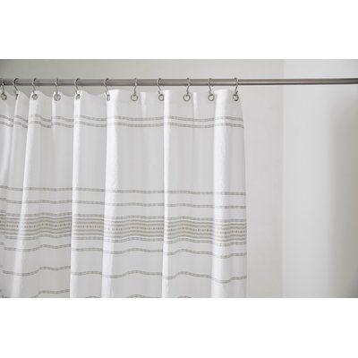 Coyuchi Rippled Stripe 100 Cotton Single Shower Curtain