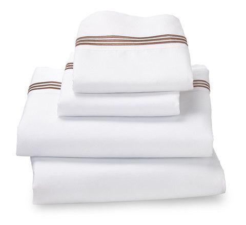White Ultra Microfiber Bed Sheet Set with Khaki Embroidered Stripes