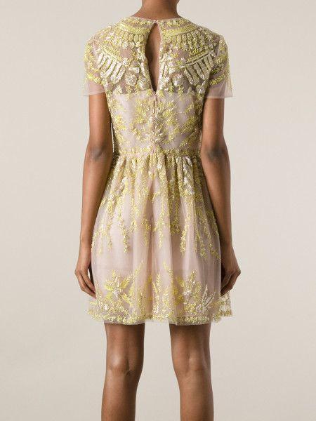 Valentino Embellished Chiffon Dress in Yellow (pink & purple) - Lyst