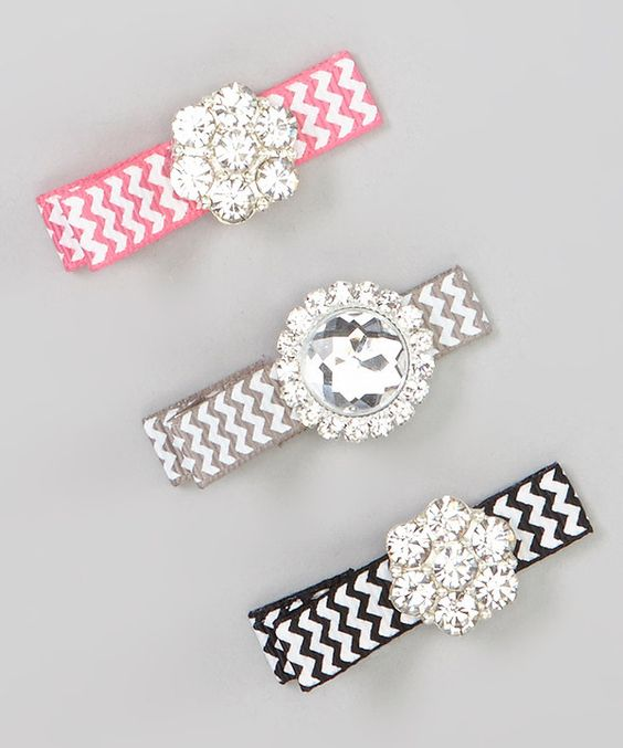 Love this Black Zigzag Sparkle Clip Set by Charlotte Rose Couture on #zulily! #zulilyfinds