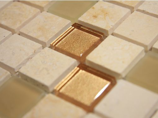 gold beige marble with matte and polish crystal glass tile