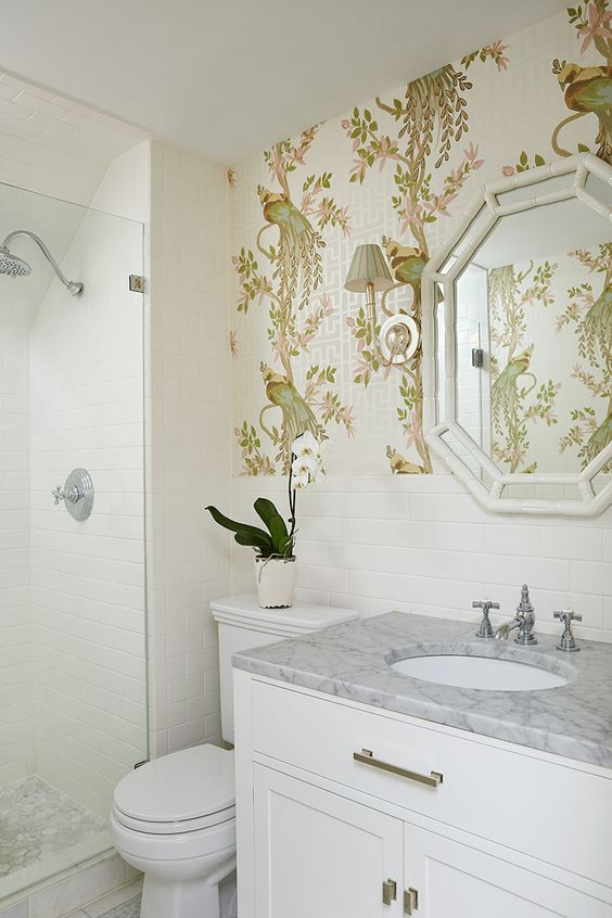 Bamboo mirror, Bathroom wallpaper and Mirror vanity on
