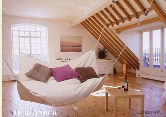 Indoor nap hammock. I imagine this to be like sleeping on a cloud.: