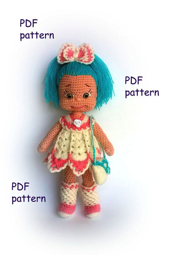 How To Make Crochet Amigurumi Patterns : Crochet doll pattern Natasha PDF Amigurumi crochet pattern ...