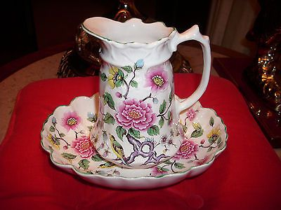 VTG.JAMES KENT OLD FOLEY ENGLAND CHINESE ROSE WATER PITCHER AND BOWL AFTER 1955