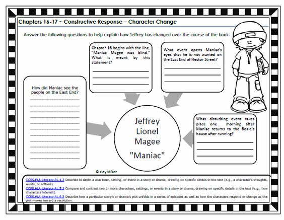 Free Printable Maniac Magee Constructive Response Graphic Organizer