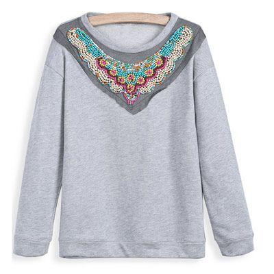 39,90EUR Pullover grau Sweater mit Perlenstickerei www.pinjafashion.de