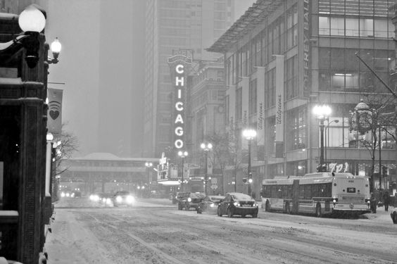 Chicago Theater on a Snowy evening